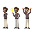 set of hipster businessman getting ideas gesture vector image vector image