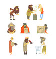 set of homeless people characters in dirty torn vector image vector image