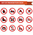 Set of prohibition signs in red circle vector image