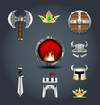 set warriors game icons axe crown shield helm vector image