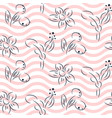 simple hand drawn flower pattern and pink wavy vector image vector image