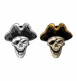 skull in pirate clothes eye patch and hat smiling vector image