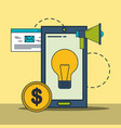 smartphone idea creativity megaphone money digital vector image