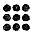 social media network hand drawn icons set vector image vector image