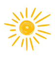 sun yellow icon warm summer weather symbol vector image vector image