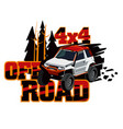 suv rides in the wild logo of the event rally on vector image