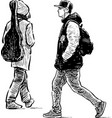 the casual young people going down street vector image vector image