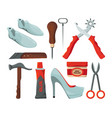 tradesman in shoes repair workshop vector image vector image