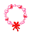 Valentine Wreath of Pink Hearts and Bows vector image vector image