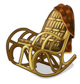 vintage comfortable rocking chair with blanket vector image vector image