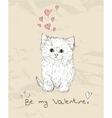 Vintage love card with kitten vector image