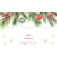 watercolor christmas banner with green fir vector image