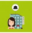 woman hotel building service vector image