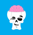 skull and brain winks emoji skeleton head happy vector image