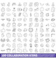 100 collaboration icons set outline style vector image