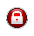 3d padlock red button security locked symbol vector image