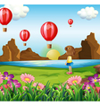 A girl watching the floating balloons vector image vector image