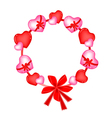A Valentine Wreath of Heart and Bows vector image vector image