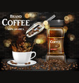 black coffee cup with splash and beans ads 3d vector image vector image