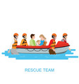 boat rescue team helping people by pushing a boat vector image vector image