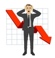 business man grabbed his head Red arrow vector image vector image