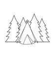 camping tent with forest landscape vector image vector image