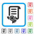 certified scroll document framed icon vector image vector image