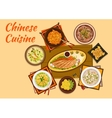 Chinese cuisine meat and hot soup dishes flat icon vector image vector image