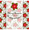 christmas postcard with wreath made of holly berry vector image vector image