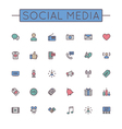 Colored Social Media Line Icons vector image vector image