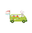 cute little bunny driving vintage van car with vector image vector image