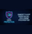 data protection glowing neon sign with alphabet vector image vector image