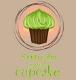 decorative card with cupcakes and positive quote vector image