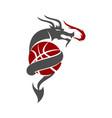 dragon basketball logo design mascot template vector image vector image