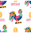 easter stamp holiday cock rooster seamless pattern vector image vector image