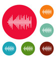 equalizer effect radio icons circle set vector image vector image