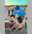 father teaching his son skateboarding vector image