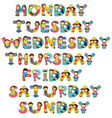 font design for seven days of the week with kids vector image vector image