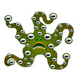 funny monster mutant starfish with teeth and a lot vector image