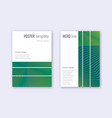 geometric cover design template set green abstrac vector image