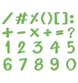 green font design for numbers and signs vector image vector image