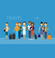 group of tourists with bags travel on air mix race vector image vector image