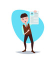 happy cv man holding personnel resume concept vector image