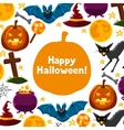 Happy halloween greeting card with characters and vector image vector image