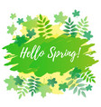 hello spring in white on green yellow background vector image