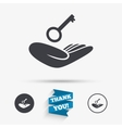 House insurance sign Hand holds home key symbol vector image vector image