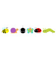 insect set line ladybug ladybird butterfly green vector image vector image
