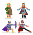 kids teens super hero characters set flat design vector image vector image
