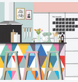 kitchen room color style vector image vector image