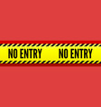 no entry yellow striped line on red background vector image vector image